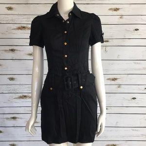 Guess black button down shirt dress size small